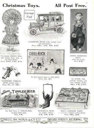 A Heelas toy catalogue from 1909, advertising numerous 'lost' games, including the extraordinarily named Tipplee-Web