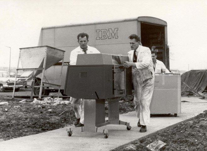 The IBM computer arriving at Stevenage in 1963