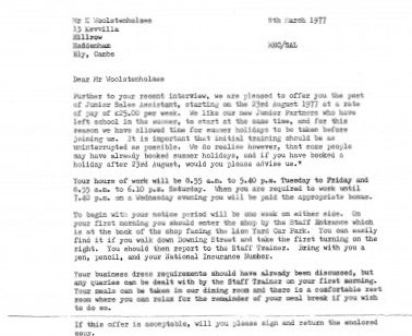 Kevin Woolstenholmes' Offer Letter 1977