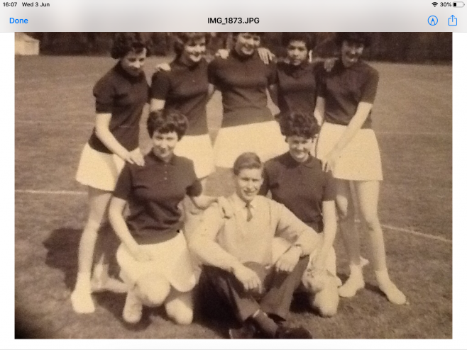 GH Lee Netball Team in the 1960's with Richard Crichton ( Manager?)