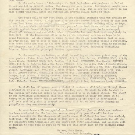 A letter from the General Manager of Oxford Street, notifying customers on the effects of war upon custom