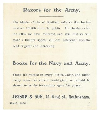 A Jessops notice to customers regarding World War One