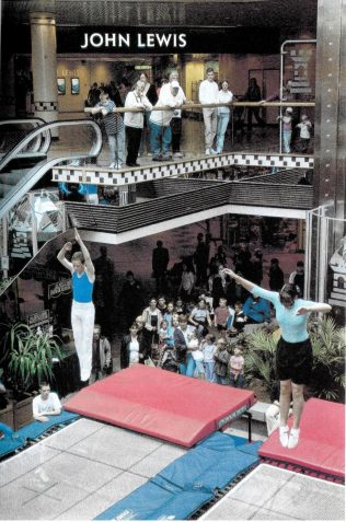 The trampoline demonstration, organised by Hazel Price, Selling Assistant, Stationary and Sports