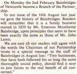 The Gazette announces the acquisition of Bainbridges into the John Lewis Partnership