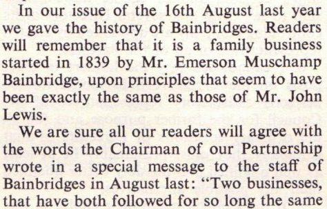The acquisition of Bainbridges into the John Lewis Partnership
