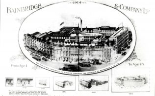 A drawing charting the growth of Bainbridges between 1838 and 1914