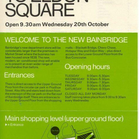 A leaflet advertising the move of Bainbridges to Eldon Square