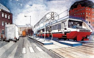 An artist's impression of a new tram system for Bristol city centre. Such big plans for an already congested centre eventually encouraged the Partnership to look for a site for their department store outside of Bristol