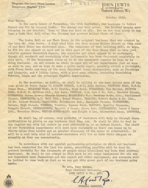 Letter to customers following the bombing of Oxford Street 1940 | JLP Archive Collection