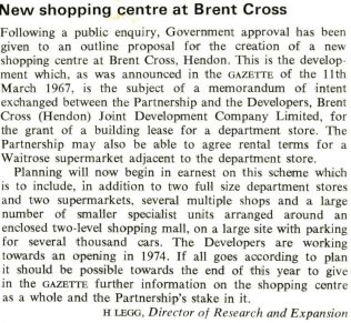 The announcement in the Gazette regarding the proposed building of Brent Cross shopping centre, which would feature a full line John Lewis
