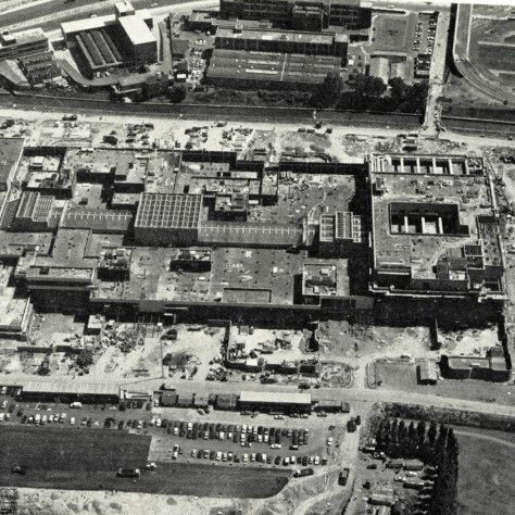 An overhead image of the Brent Cross construction site. John Lewis Brent Cross can be located on the right hand side of this particular photograph