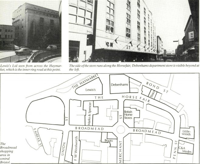 A page from the Gazette, showing two images of the Lewis' store, and below it, a map of the Broadmead