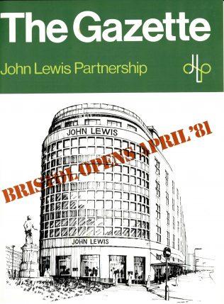 The front cover of the Gazette declares John Lewis Bristol open