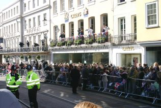 Royal to the end; Crowds gather in front of Caleys during the Royal wedding between Charlies and Camila in 2005