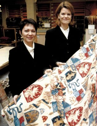 Denise Rawsthorne, Furnishing Advisor and Claire Critchclow, Special Shopping Manager, with the fabric for Windsor Castle