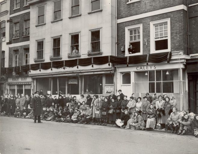 The funeral procession of King George VI passes Caleys