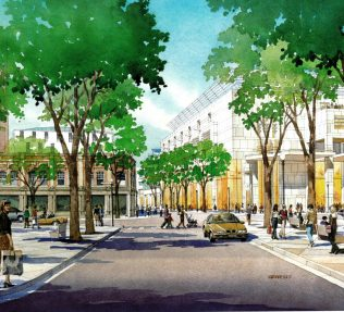 An artist's impression of John Lewis Cardiff, set within the redevelopment of the surrounding area