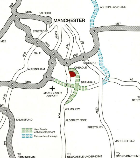 The map shows in red the site of the Sainsbury's/John Lewis building. The green-dotted line shows a new dual carriageway, and the blue-dotted line shows motorway proposals.