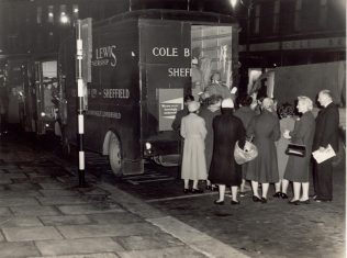 Cole Brothers Partners being carried home in a Cole Brothers van, following the 1954 bus strike. This picture encapsulated the difficulties of Post-war Britain