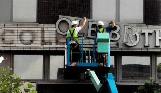 The historic Cole Brothers signage is removed, and would be replaced by John Lewis Sheffield