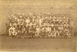 A photpgraph of the Cummersdale print works staff from 1890