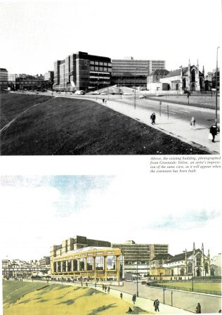 Above: A photgraph of John Lewis Edinburgh, taken in 1986. Below: an artist's impression of John Lewis Edinburgh, complete with proposed extension
