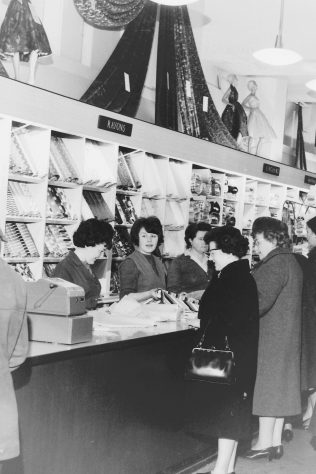 The interior of the Silk Shop, Edinburgh, 1964