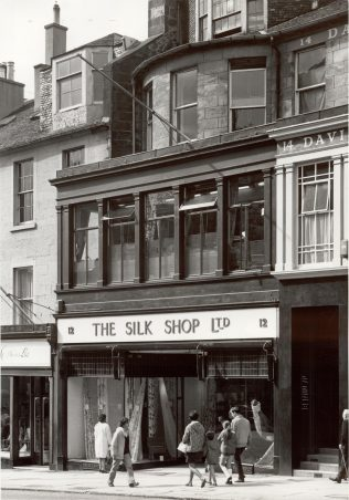 The exterior of the Silk Shop, Edinburgh, taken in 1971