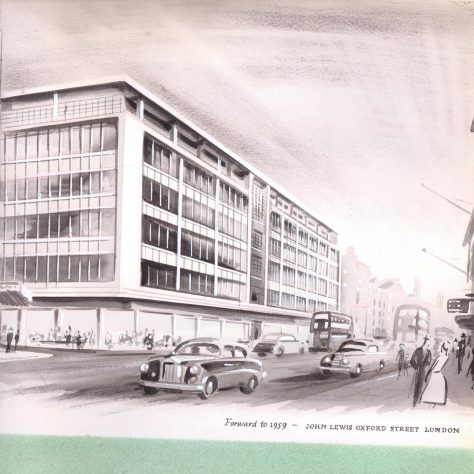 A line drawing of the new John Lewis department store, 1959