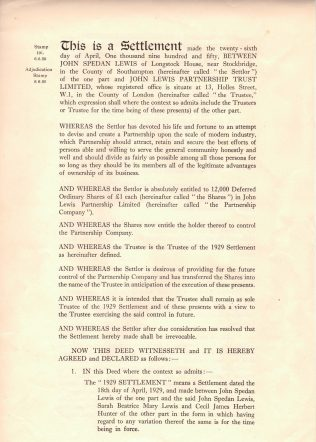 The first page of the First Trust Settlement, 1929