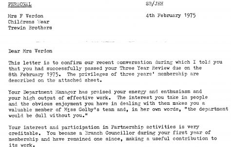 Three year review letter, 1975