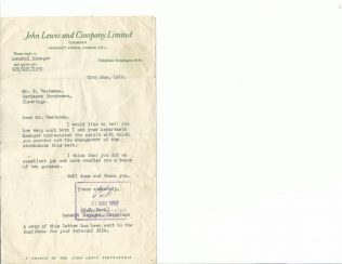 Letter dated 20th May 1960