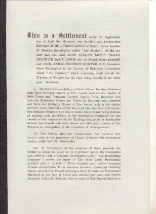 The opening page of the First Trust Settlement