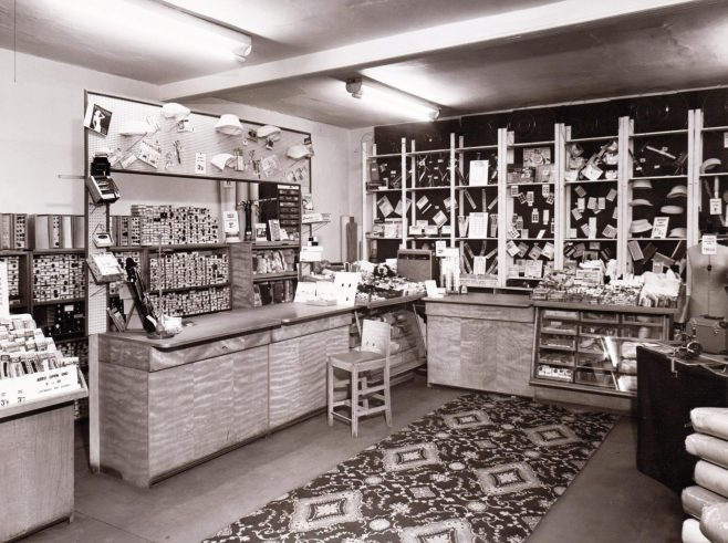 The haberdashery department at GH Lee Chester, 1959