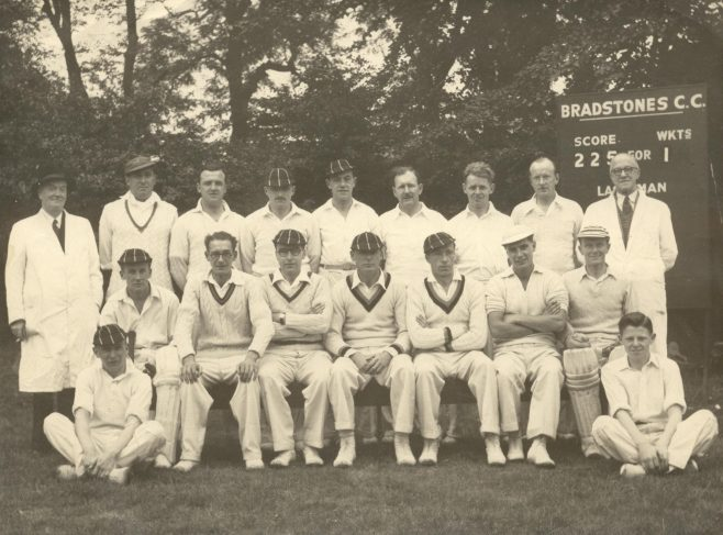 A picture of the cricket team of GH Lee, as taken at Bradstones, the sports facilities belonging to the department store. This picture was taken in 1952