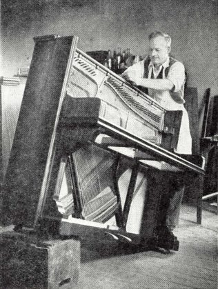 The piano is stripped down ready for treatment | The Gazette of the John Lewis Partnership 4th May 1957