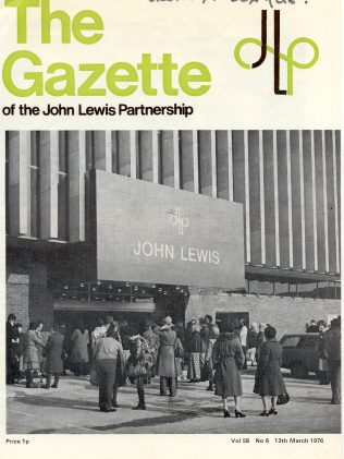 The front cover of the Gazette captures the queues forming outside of the newly opened John Lewis Brent Cross