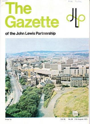 The front cover of the Gazette celevbrates the opening of John Lewis Edinburgh