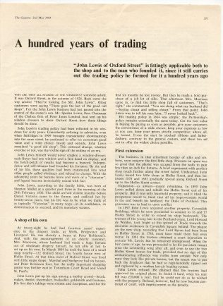 A Gazette article on one hundred years of trading in Oxford Street