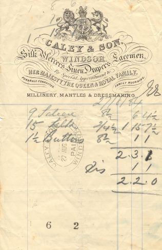 A headed bill from 1884 shows some sort of staff discount, possibly for staff