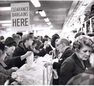 Crowds of people at the Heelas Clearance, 1964