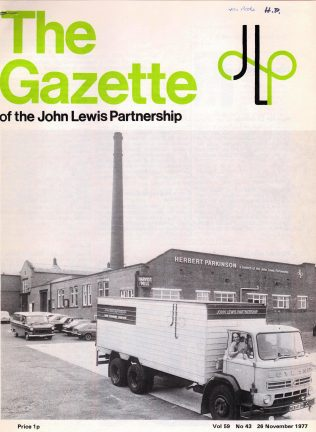 The exterior of Herbert Parkinson on the front cover of the Gazette, 1977