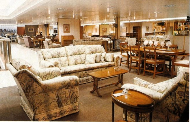 The furniture department, occupying much of the top selling floor