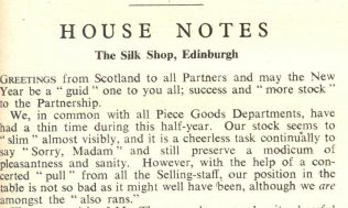 House notes for the Silk Shop, Edinburgh from a Gazette of 1946