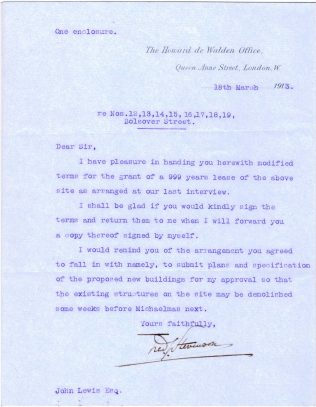 A letter to Baron de Walden from John Lewis, from March 1913
