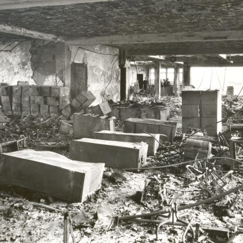The interior of the bombed sho, 1940