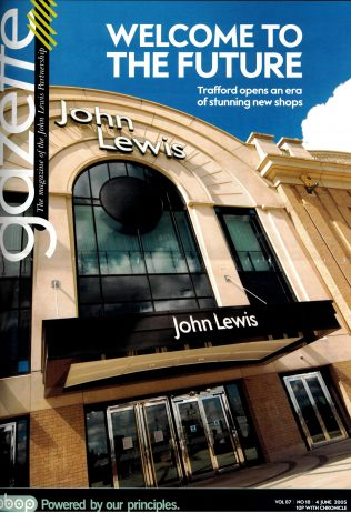The Gazette of the 4th June 2005 celebrates the opening of John Lewis Trafford