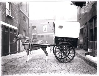 A horse-drawn John Lewis delivery van, 1904-1914