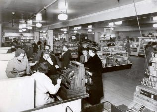 The self service food hall at John Barnes, said to be one of the first self service departments in London