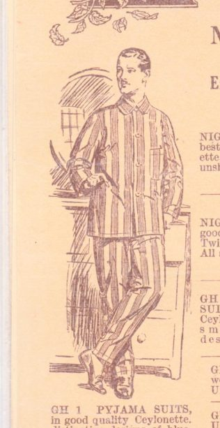 The Jones Brothers pyjama suit, from the shop's 1923-1924 catalogue, that eventually incriminated Dr Crippen